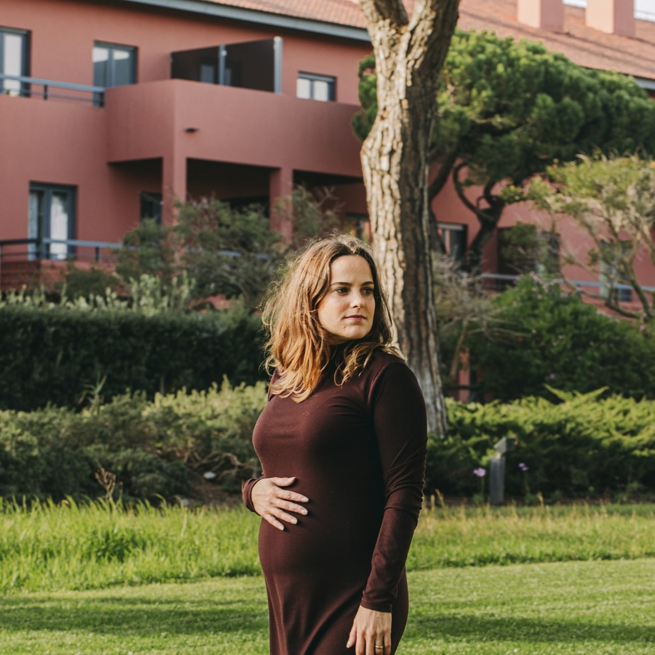 Pregnant woman in the gardens of Sheraton Cascais Resort
